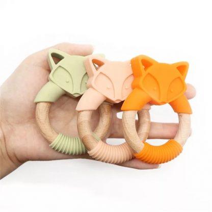 mordedor madeira e silicone bebê montessori raposa